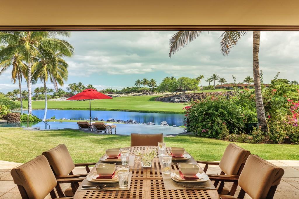 Large Lanai Overlooks Jack Nicklaus Signature Golf Course at Hualalai Four Seasons Resort